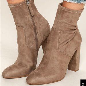 Taupe Steve Madden sock booties with block heel